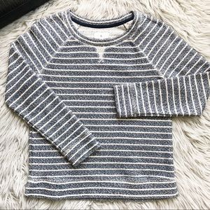 Lou & Grey Crew Pullover Stripe Sweater Blue Ivory